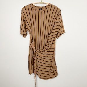 ZARA Striped Wrap T-Shirt Dress M Neutral Edgy New